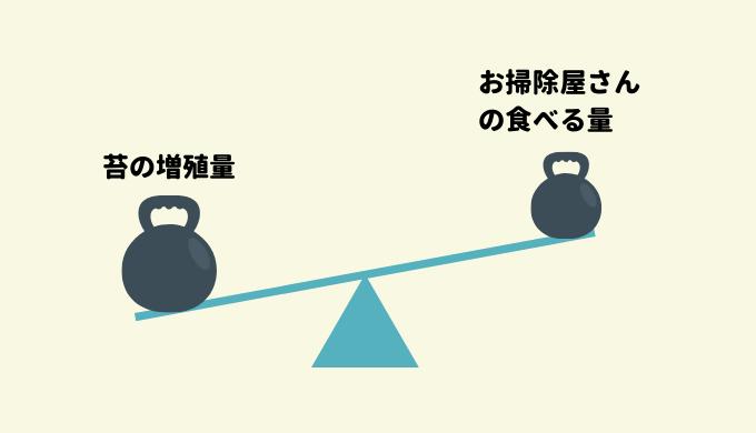お掃除屋さんの食べる量と苔の増殖量
